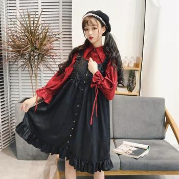Lolita Vintage Dresses Women Sleeveless Strapless Dress for Girls Kawaii Black Dress Платье