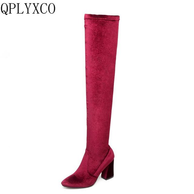 e0bc4eaa9b1 QPLYXCO 2017 New Fashion Big small Size 33-46 Winter Boots shoes Ladys over  the knee Super high Boots High quality shoes 9426