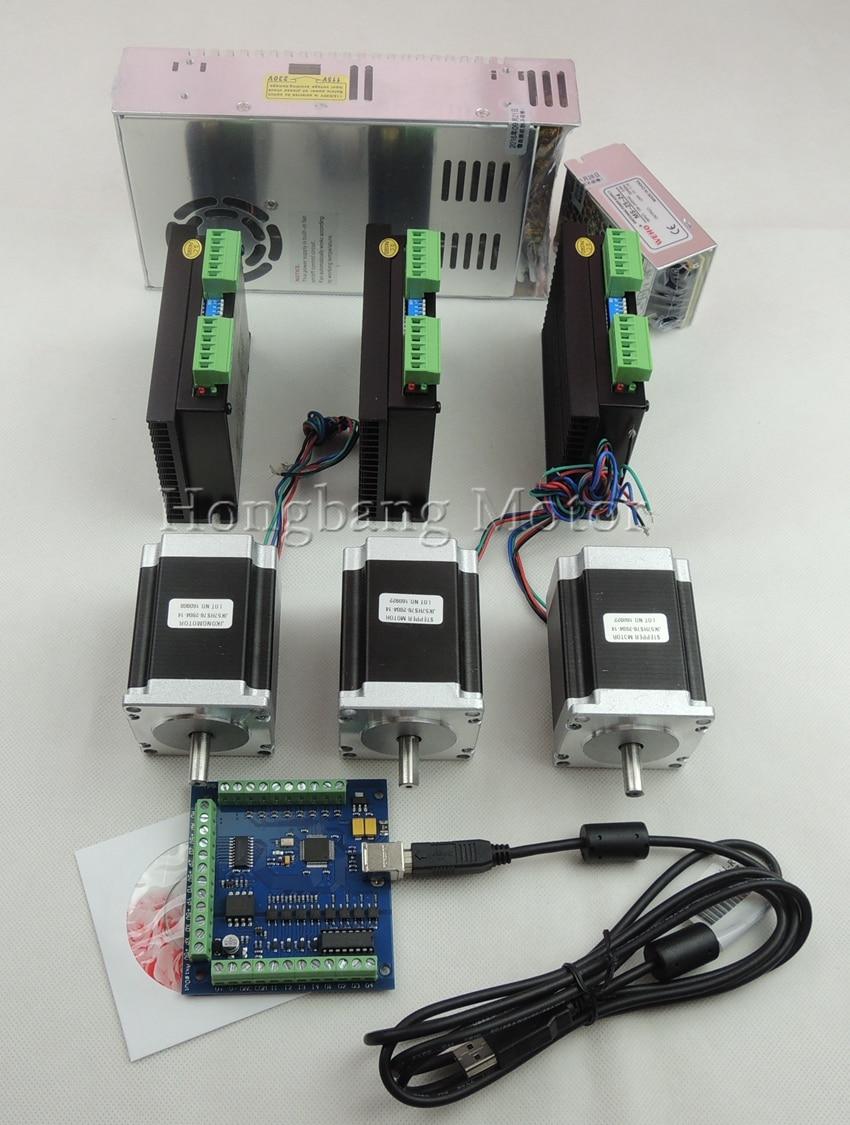 USB di CNC 3 Assi kit ST-M5045 (sostituire 2M542) driver mach3 + USB scheda controller 100 KHz + 3 pz oz-in nema23 motore + alimentatore
