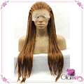 Long Gold Kinky Curly Twist Braiding Synthetic Hair with Baby Hair Heat Resistant Fibers Lace Front Wigs Afro Hair Wig