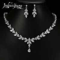 Luxury Crystal Zircon Wedding Jewelry Sets for Women White Gold Color African Jewelry Sets Water Drop Earrings Necklace Set AS56