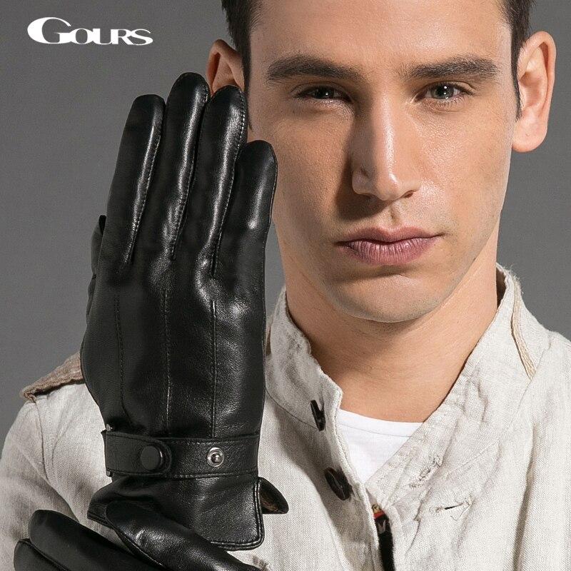 Gours Gloves 2015 Autumn and Winter Fashion New Men's Genuine Leather Glove Goatskin Belt Button Black Plus Velvet Warm GSM020
