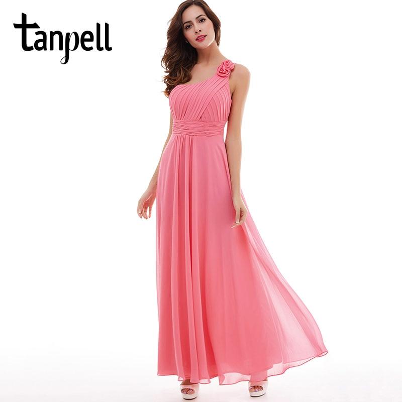 Tanpell blomma en axel klänning fest vattenmelon golv längd - Särskilda tillfällen klänningar - Foto 1