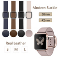 Original Modern Buckle Magnetic Soft Genuine Leather strap for Apple Watch band 38mm 42mm Stainless Steel strap for Apple iWatch
