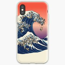 A Grande Onda De Pug Caso Transparente Para O iPhone Da Apple X XS MAX XR SEcover case para iPhone 7 8 além de 6 6s 5 5S 7Plus 8 Além de Coque(China)