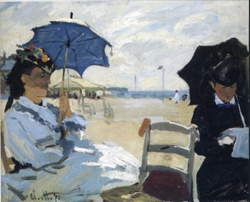 High quality Oil painting Canvas Reproductions The Beach at Trouville (1870) By Claude Monet hand painted
