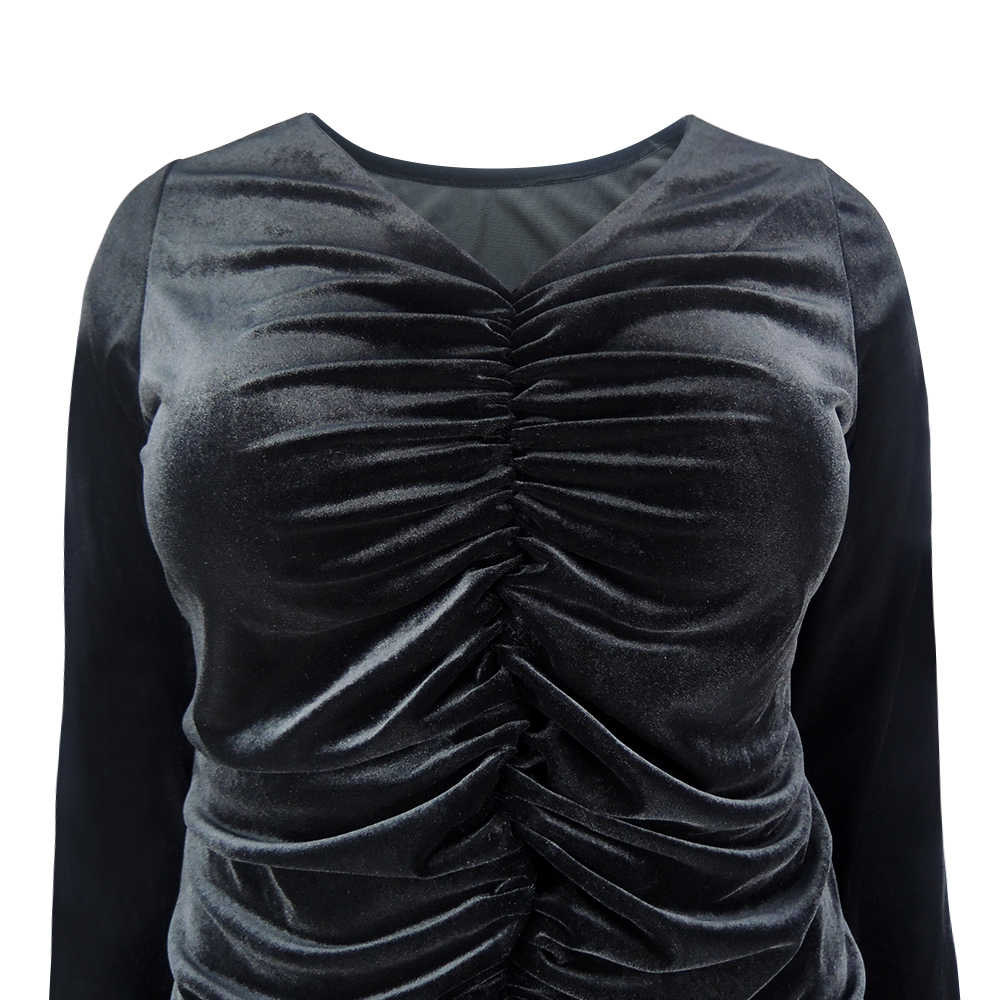 6648ad7609 YTL Women Plus Size Clothing Autumn Winter Ruched Long Sleeve Velvet Black  Blouse Stretch Fitted Casual Tunic Tops 7xl 8xl H130