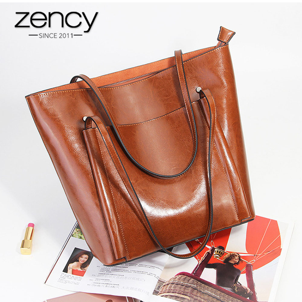 Zency Classic Coffee Simple Style Women Shoulder Bags 100 Genuine Leather Brown Tote Handbag Large Shopping