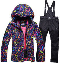 Skiing jackets New Arrival Outdoor camouflage Snow Ski Snowboard Jacket+pants women Winter Sport Ski Suit Warm Ski Clothing
