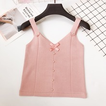 Bow Button Beading Knitted Crop Tank Top Lace Up Cropped Tees Camis Women Sleeveless Casual V-Neck Pullover 2019 Korea Style