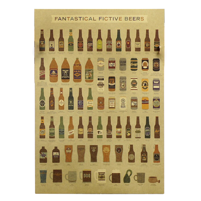 Coffee Beer Wine Collection Bars Kitchen Drawings Posters Decoration Vintage Posters Wall Stickers 7