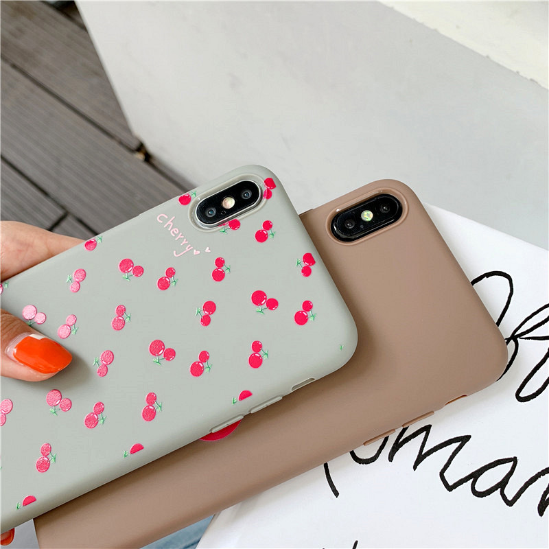 KIPX1099_5_JONSNOW Phone Case For iPhone 7 8 Plus 6S 6 Plus XS XR XS Max Cherry Pattern Soft Silicone Case Back Cover Capa Coque Fundas
