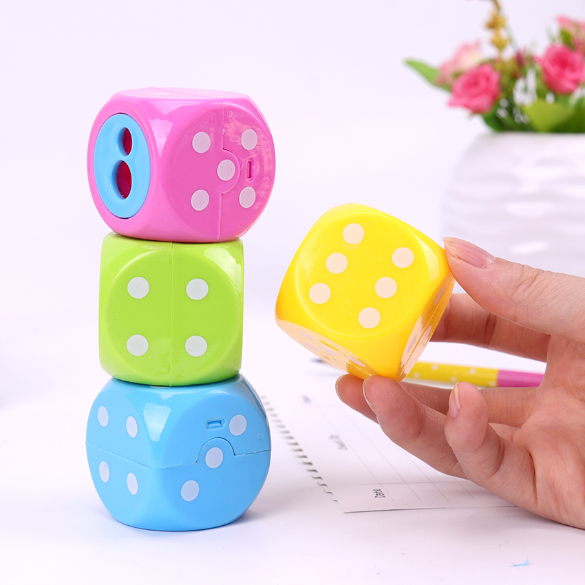 New Kawaii Candy Color Pencil Sharpeners Child Double Holes Plastic Pencil Sharpeners Student Prize School Supplies