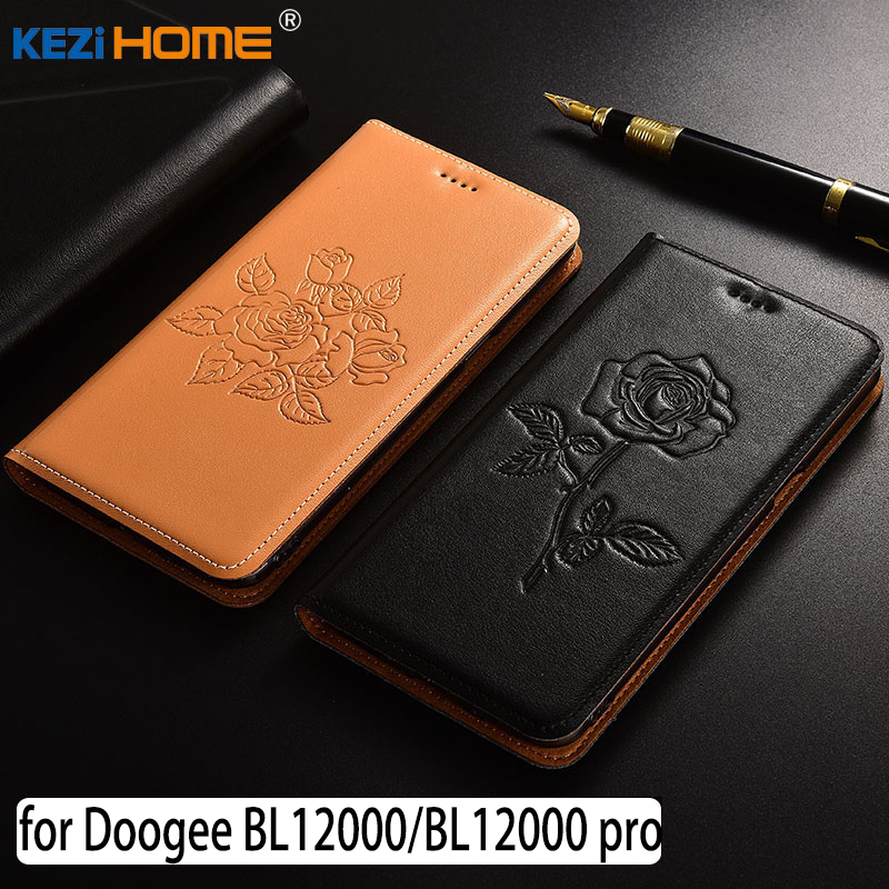 for Doogee BL12000 case Flip embossed genuine leather soft TPU back cover for Doogee BL12000 pro coque