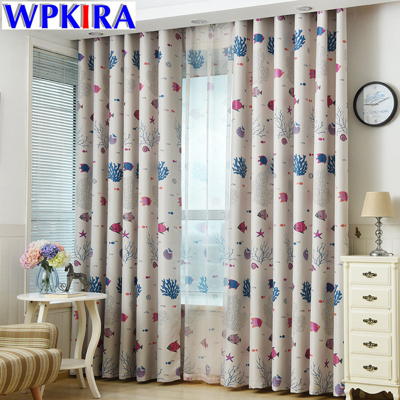 US $6.3 35% OFF|Cute Blackout Curtain For Living Room Curtains Children  Boys Girls Bedroom Animated Cartoon Sea Fish Design Window Drape WP216 3-in  ...