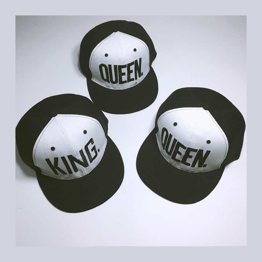 Black White Baseball Cap KING QUEEN LOVER Hip Hop Hats Men Women Sun Hats Flat brim Caps Snap back Adult Custom Hats Adjust