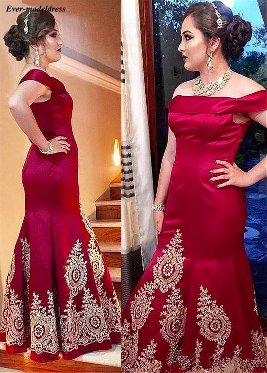 Red Mermaid   Evening     Dresses   Plus Size Floor Length Gold Appliques Off Shoulder Lace Up Back Long Prom Party Gowns Robe de soiree