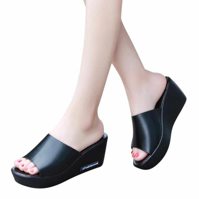 dad22076b Summer Woman Shoes Fish mouth Platform slippers Wedge Beach Flip Flops High  Heel Slippers For Women