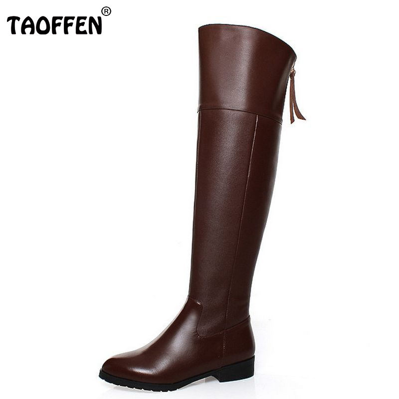 TAOFFEN Free shipping over knee natrual real genuine leather high heel boots women snow winter warm shoes R5017 EUR size 34-42 free shipping over knee natrual genuine leather high heel boots women snow winter warm boot shoes coolcept r1538 eur size 30 45