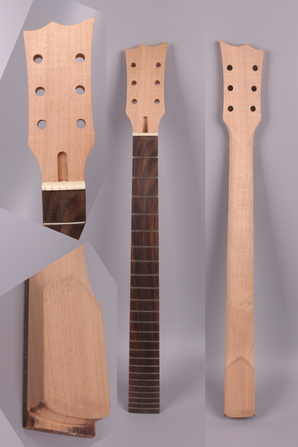 unfinishede electric guitar neck 24 fret Locking nut 648mm 25.5 inch mahogany made and rosewood fingerboard 0010# high quality custom shop lp jazz hollow body electric guitar vibrato system rosewood fingerboard mahogany body guitar