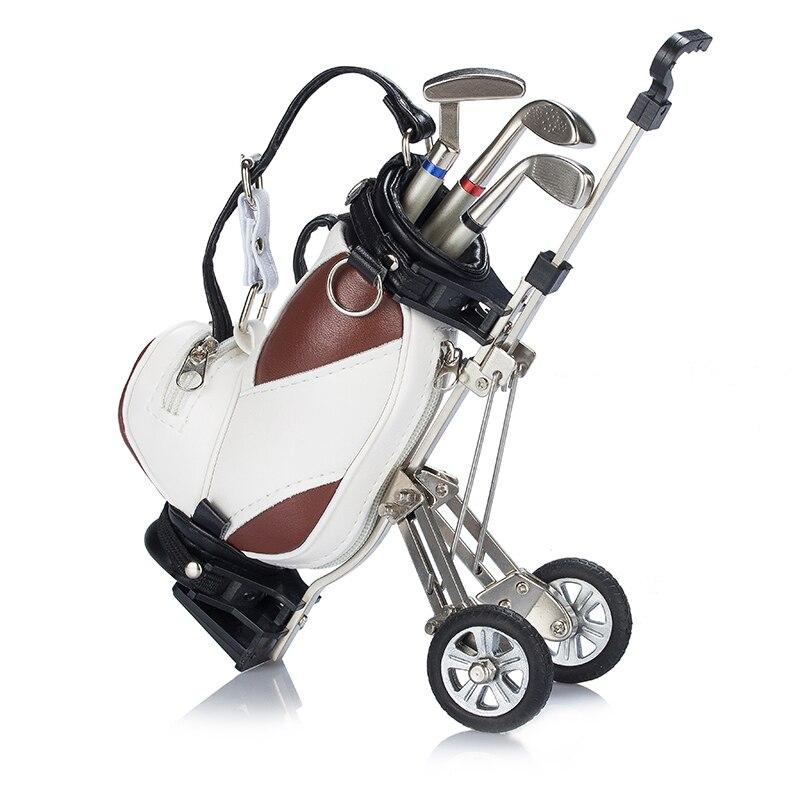 imágenes para Original Plumas de Golf con Soporte para Bolsas de Golf, Carro De Golf Bolsa de Escritorio Titular de Plumas, carrito de golf En Miniatura con metal plumas y soporte de la bolsa