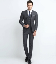 custom made Worsted Wool mes suits Slim grey stripe business suits men's three-piece groom wedding dress XKZ05