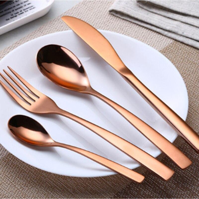 1 Set Multicolor Rainbow Dinner Set Wedding Travel Cutlery Stainless Steel Dinner Knife Fork Scoops Set Kitchen Food Tableware in Dinnerware Sets from Home Garden