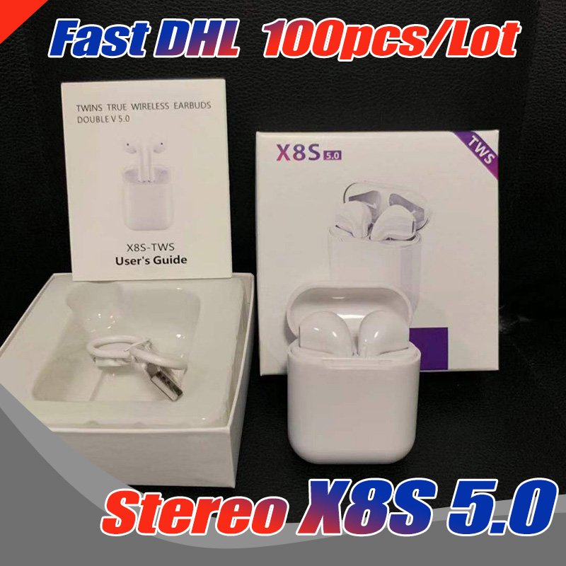100PCS Lot New X8S Mini TWS Bluetooth 5 0 Earbuds Wireless Sport Stereo Earphones With Charging