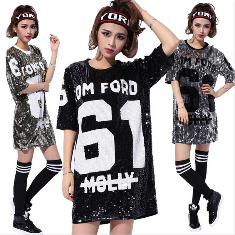 2016 Women Beyonce Bulls Sequined Girls Shirts 61 DancingTops Pole Dance/Disco/Jazz Dance/Hip-hop T Shirt Wholesale image