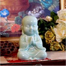 Cyan Blue ceramic buddha statue figurine home decor crafts room decoration kawaii ornament porcelain figurines