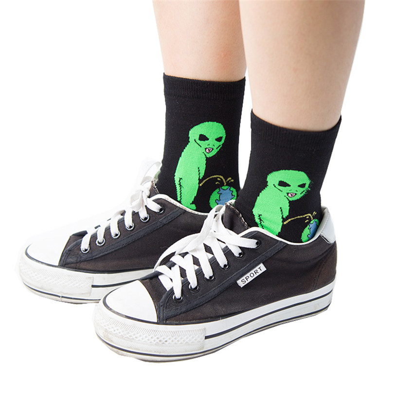 Fashion Men Cotton Sock Cat Alien Hip hop Harajuku Skateboard Socks Funny Socks