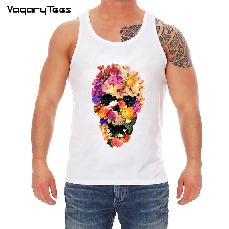 New Arrival Skull men   Tank     Top   Skeleton Flowers city Printed basic Fitness Sleeveless man white Cropped Homme