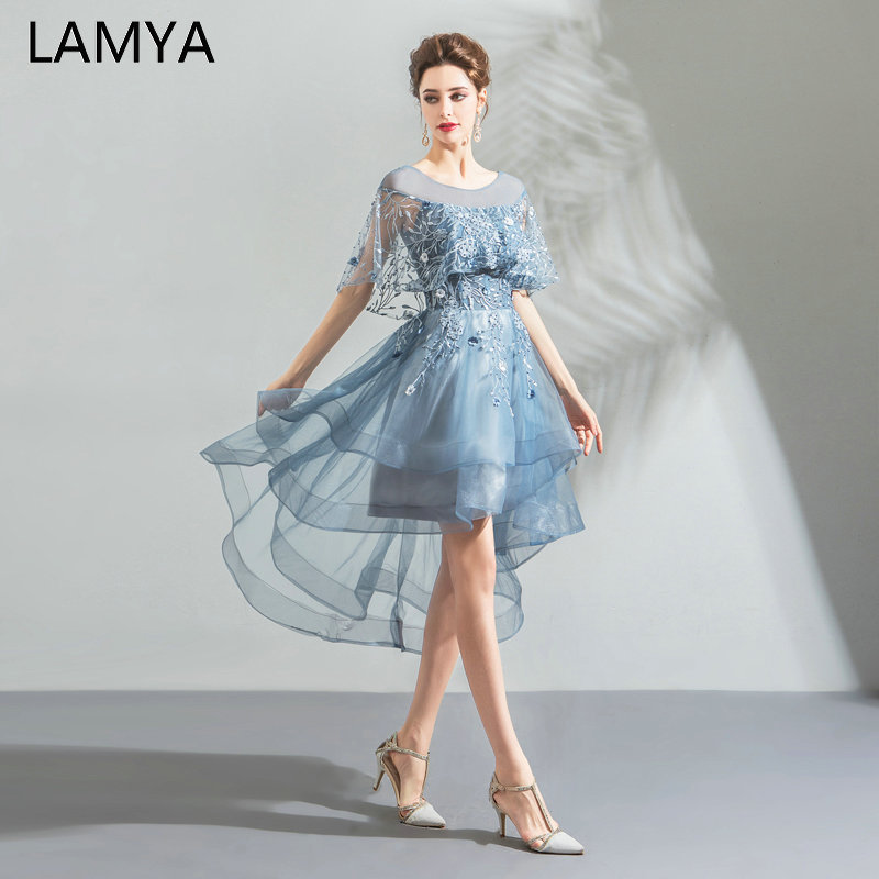 LAMYA Embroidery Tulle High Low Evening Party Dresses Pearl Short Front Back Long Tail Prom Dress Candy Color Formal Gowns 2019