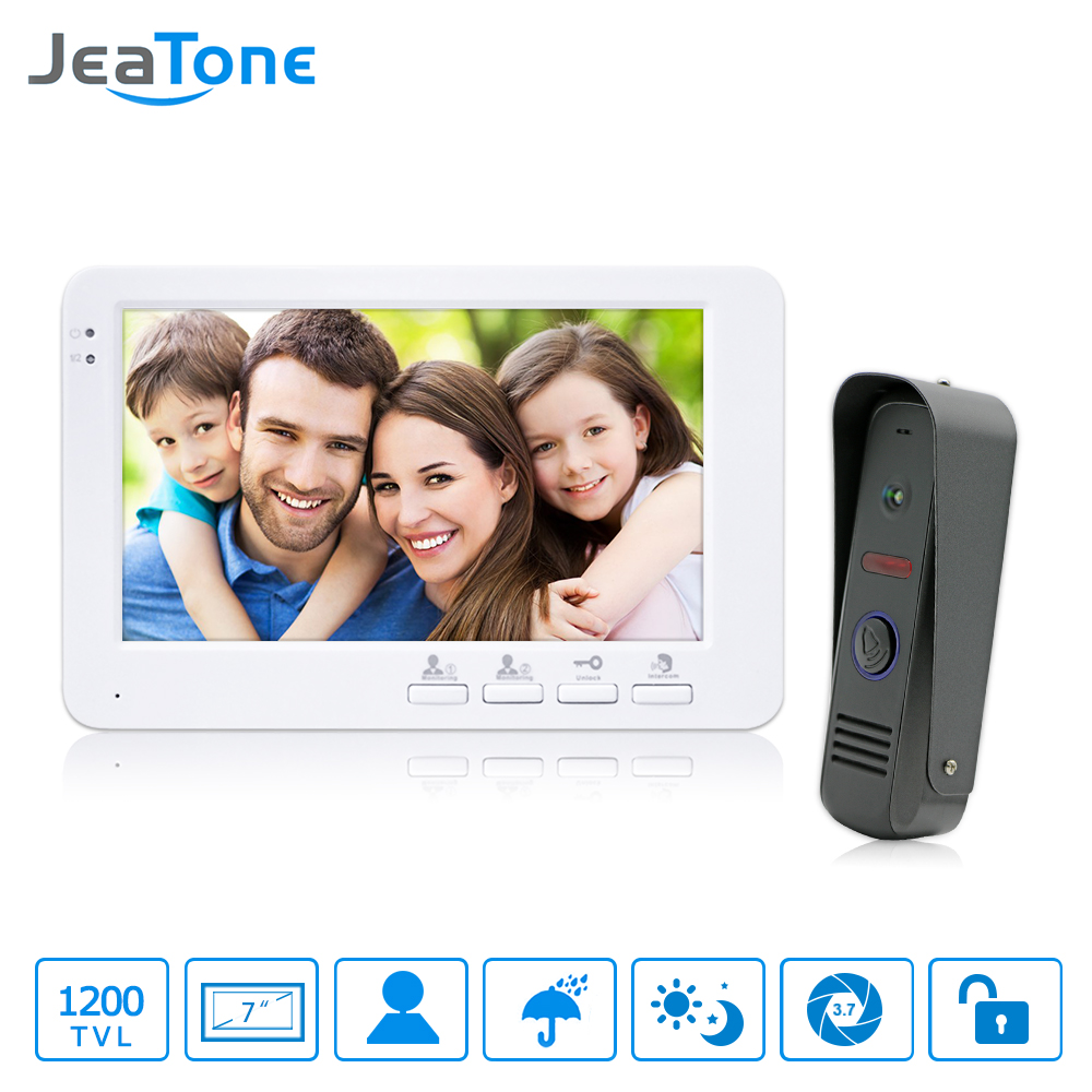JeaTone 7 HD  1200TVL Door Bell With Camera LED Monitor Video Door Phone Intercom Control Electronic Lock Door Entry System 1v1 homefong 7 tft lcd hd door bell with camera home security monitor wire video door phone doorbell intercom system 1200 tvl