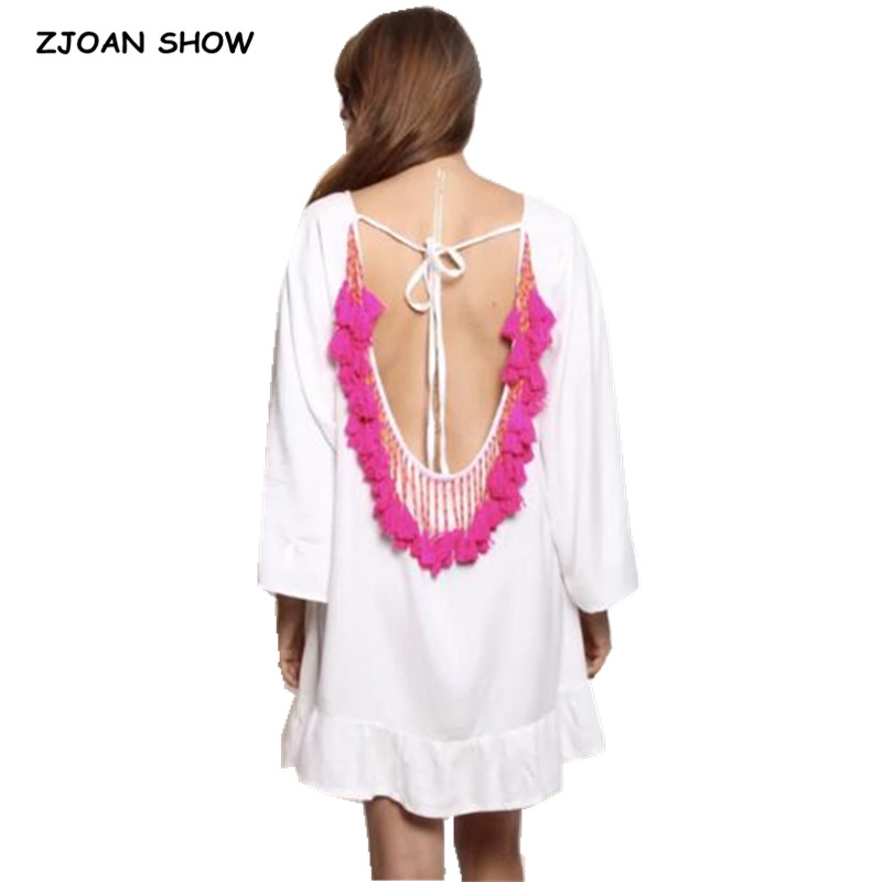 122d31ace4c82 ... Deep V neck Spliced Beading Tassel Dress Holiday 2018 Summer Woman Backless  Short Loose Beach Dresses White Pink Black on Aliexpress.com | alibaba group