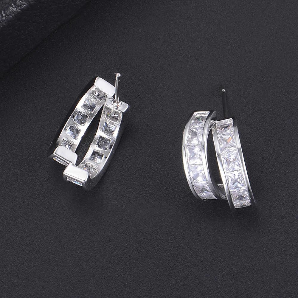 10*17 mét Bạc Màu Sắc Dễ Thương Không Thường Xuyên Hai Dòng Hình Dạng Hình Học AAA Cubic Zirconia Stud Earrings Đối Với Đảng Hàng Ngày đeo Đồ Trang Sức