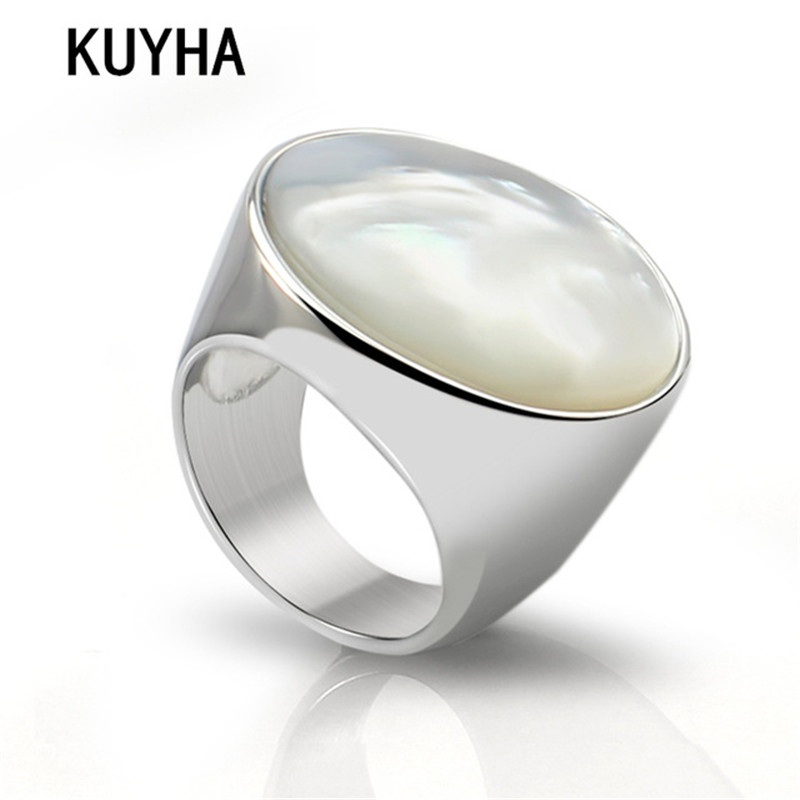 Vintage Simple Big Round Ring Stainless Steel Silver Jewelry Delicate White Pearl Opal Stone Wedding Engagement Rings for Women цена