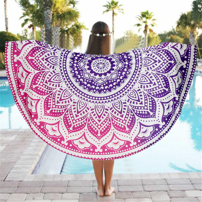 Lotus Flower Beach Throw Mat Beach Mat Cover Up Round Beach Pool Home Blanket Table Cloth Yoga Mat India Mandala Tapestry
