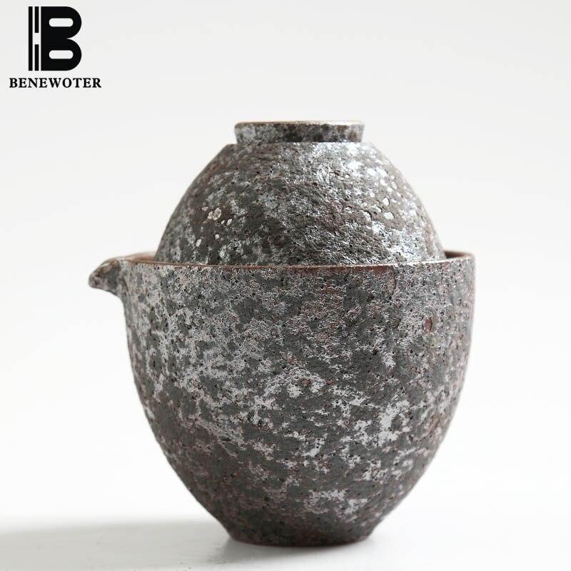 Venkovní tábor přenosný hrubá hrnčířská hlína Vintage japonský rychlý pohár 1 čajník 1 šálek Kung Fu čajová sada pro květ Puer Černý čaj