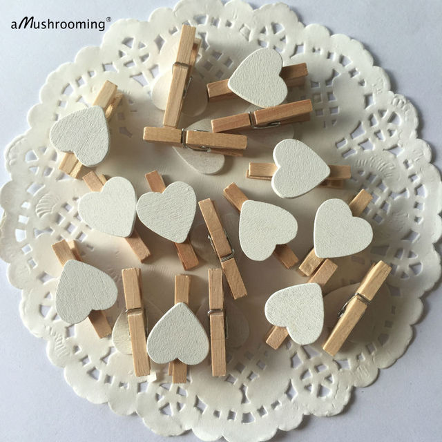 30mm Clothes Peg with 18mm White Hearts Craft For Shabby Chic Vintage Wedding Set of 25 pcs