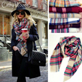 20 Color Winter Luxury Brand Plaid Cashmere Scarf Women Blanket Scarf Ladies Oversized Tartan Shawl Scarves Women Pashmina Stole