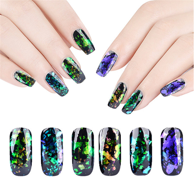 2017 Magic holographic nail art glitter make up nail sequins glitter ...