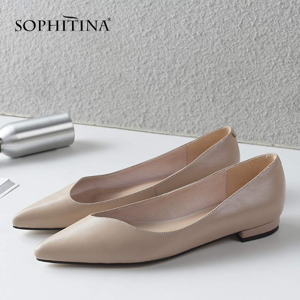 SOPHITINA Women's Flats High Quality Genuine Leather Sexy Pointed Toe Shallow Shoes New Comfortable Slip-on Hot Sale Flats MO173