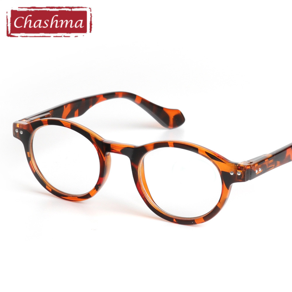 Chashma Retro Style Optiska Glasögon Högkvalitetsglasögon Vintage Leopardglasögon Ram Round Reading Glasses
