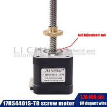 Motor paso a paso de tornillo Nema17 de 40mm, 17HS4401S T8 L300MM con tuerca de cobre de plomo de 2/4/8mm para motor de impresora 3D, Envío Gratis