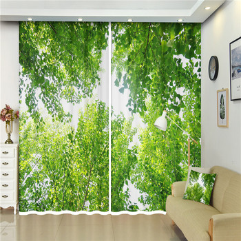 European Style  fresh Green forest curtainsfor Bedroom living room Office 3d Blackout Window Curtains Curtain home decoration