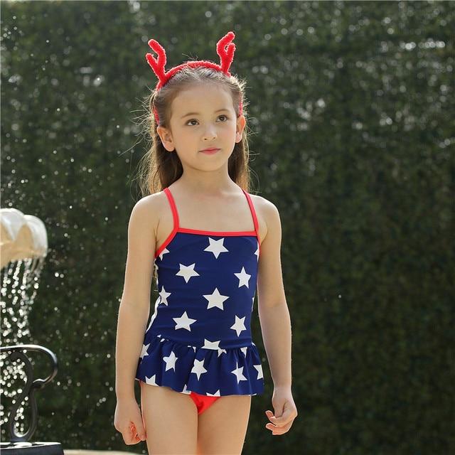 41d6df786b Girl Swimwear Dress One Piece Swimsuit 2017 New Arrival Stars Print Cute  Kids Bathing Suits Children's Swimwear Hot Sale 2-9 YRS