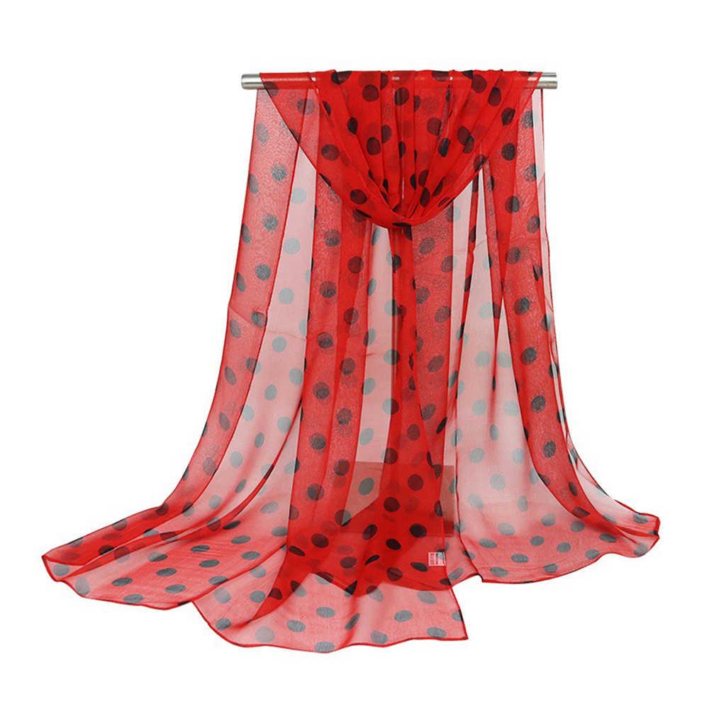 Повседневное обертывание шелка для девочек женские шарфы 160x50 см длинный мягкий шейный платок новая мода в горошек шаль шарф 2019 женский подарок