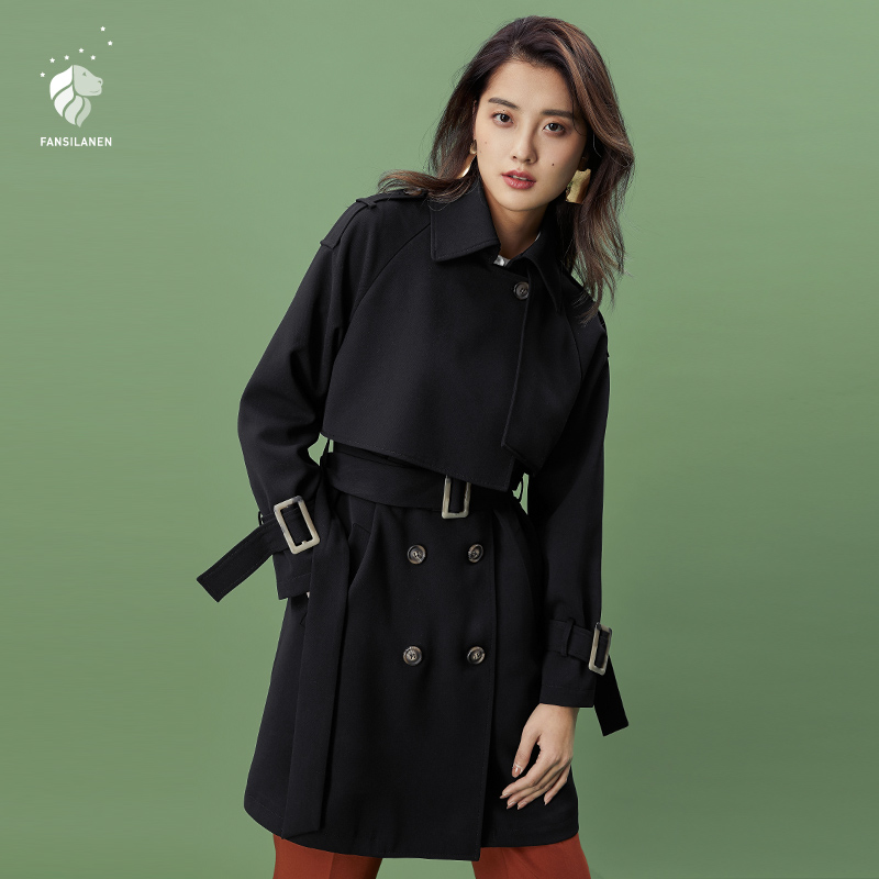 FANSILANEN 2018 New Arrival Fashion Autumn/Spring Solid Black   Trench   Coat For Women Feminine Female Coat Long Z80121