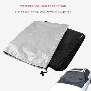 Image 2 - مظلة السيارات العالمية غطاء مع المغناطيس السيارات الأمامي الزجاج الأمامي شمسي نافذة السيارة ظلة اللون الأسود